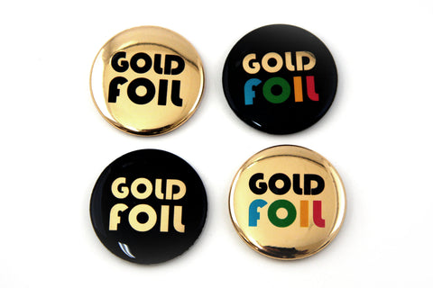 How to make shiny metallic gold button pins with foil