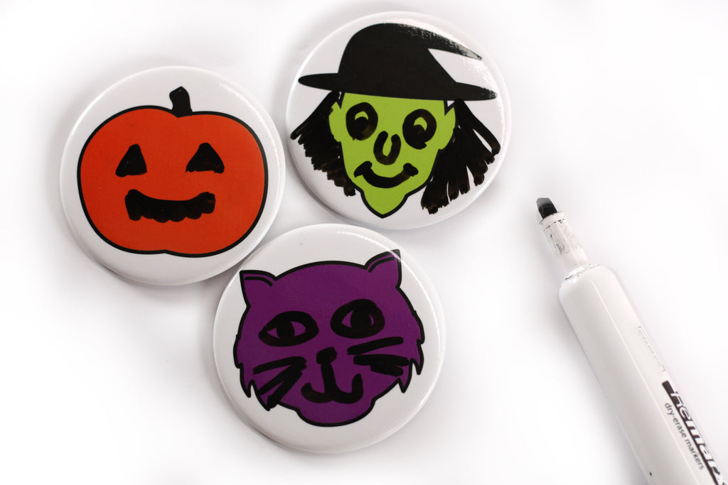 Spooky Face Dry Erase Buttons, Halloween Buttons, People Power Press,