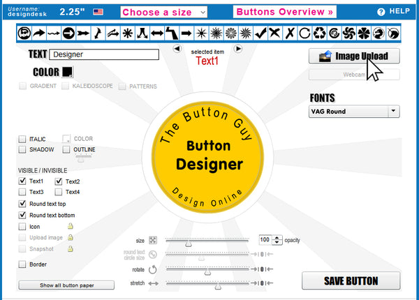Upload your Image to the Button Guy Online Button Designer