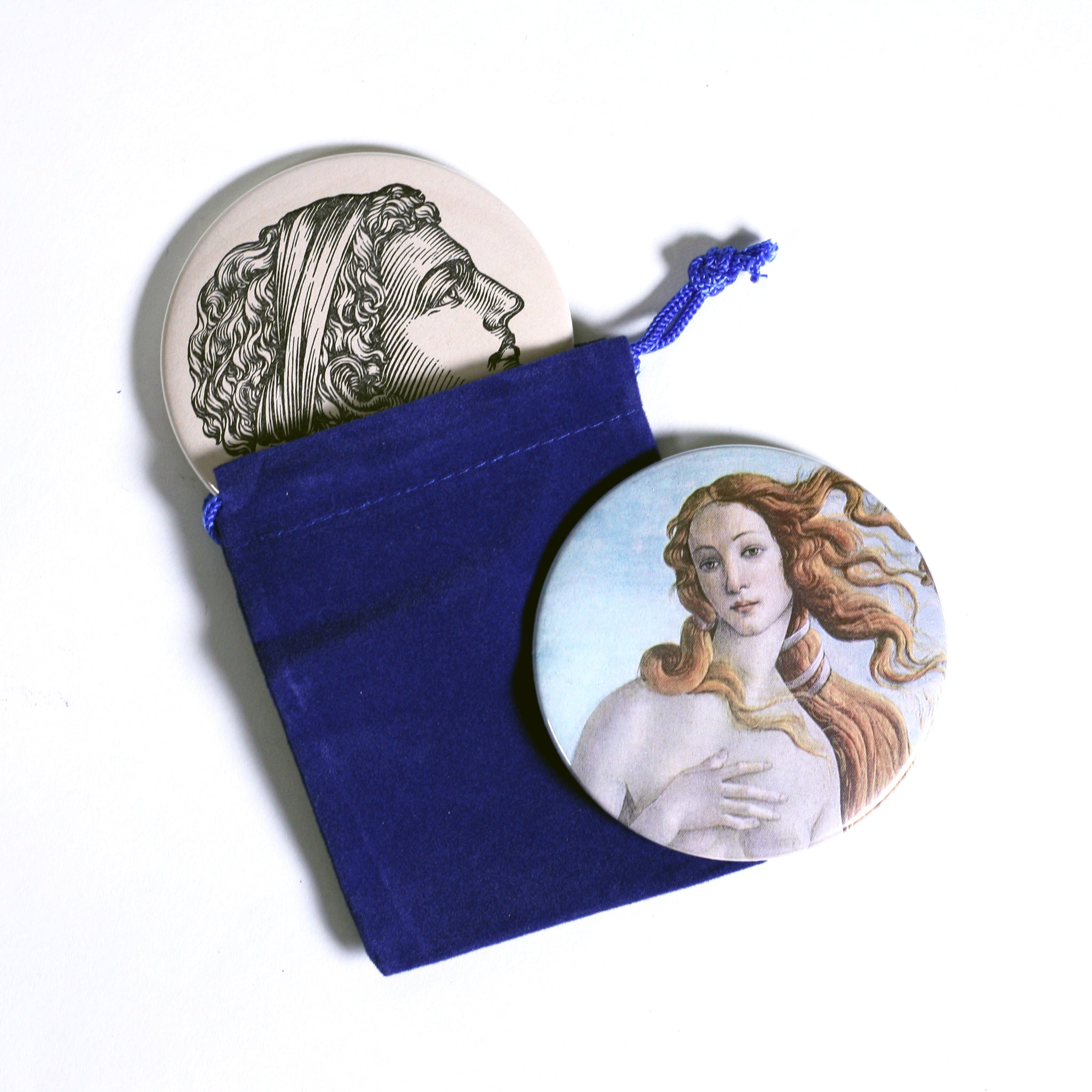 Upcycled Vintage Book Button Pocket Mirror Birth of Venus
