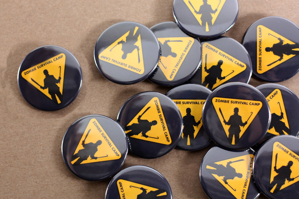 promote your buisness and order your own custom buttons from People Power Press, Zombie Survival Camp Buttons,