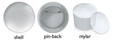 Standard pin-back button.  Shell pinback mylar