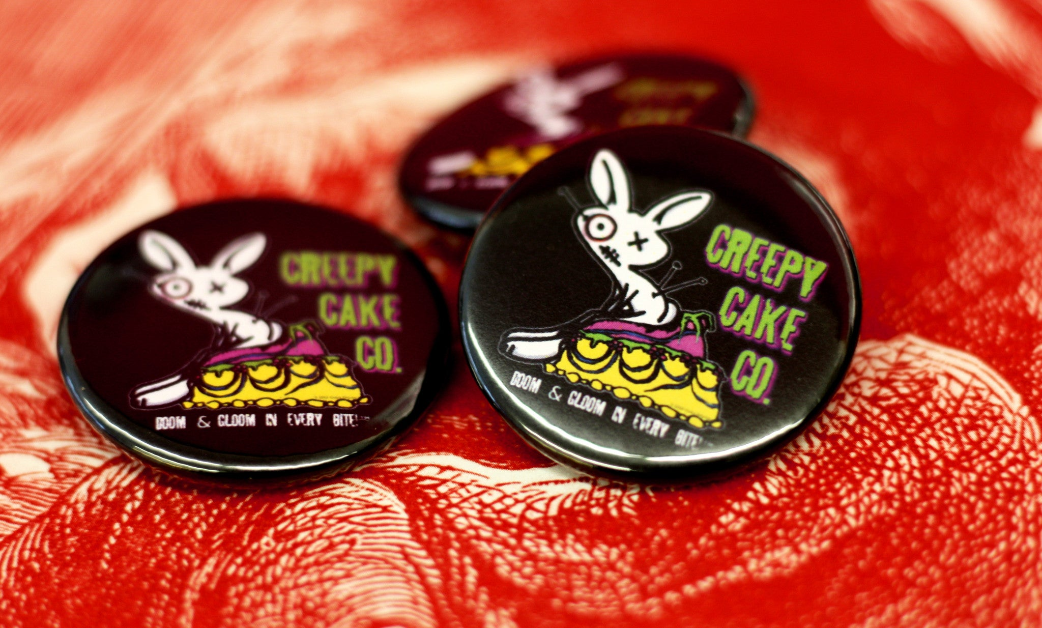 "Creepy Custom Buttons, Creepy Cake Co, Custom 1.5"" Round Buttons, bakery buttons,"