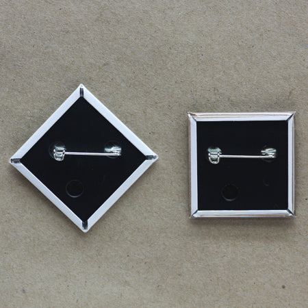 Square Pin-back Button, Diamond Pin-back Button