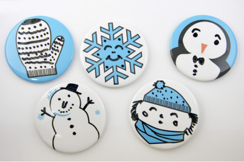 snowy face dry erase buttons, magnets, and christmas tree ornaments