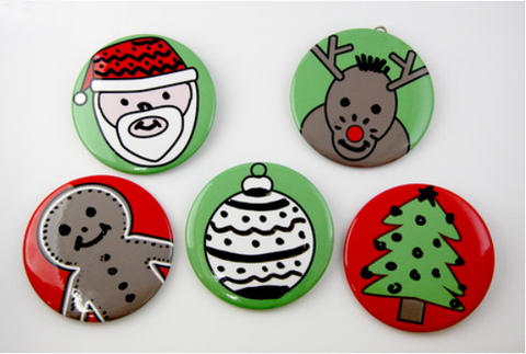 silly face christmas dry erase buttons, magnets and tree ornaments