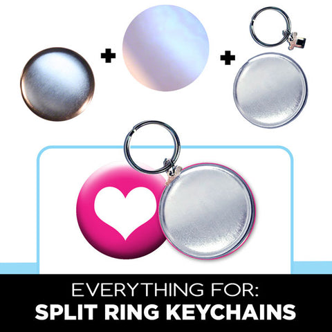 Split Ring Button Keychain, Button Making Parts & Supplies by People Power Press,