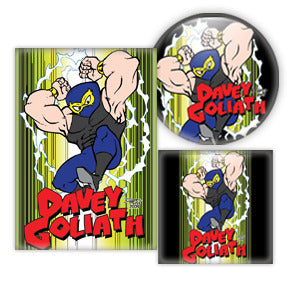 Davey Goliath Comic buttons by Mike Gagnon on People Power Press