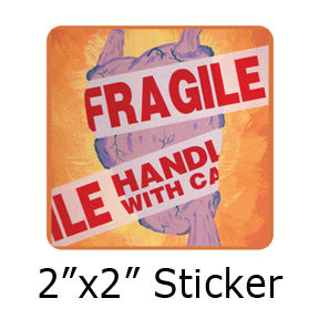 Fragile heart stickers by Mike Gagnon on People Power Press