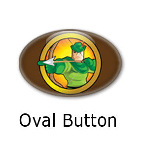 Robin Hood Heroized oval buttons and fridge magnets by Mike Gagnon on People Power Press