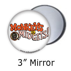 """Monkeys & Midgets"" Logo pocket mirrors by Mike Gagnon on People Power Press"