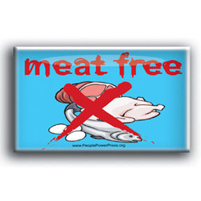 Meat Free - Blue Vegan Button/Magnet