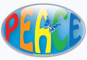 Peace Button/Magnet - Oval Butterfly Rainbow
