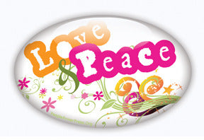 Love and Peace Sixties Button Design