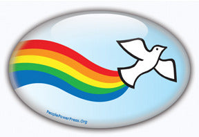 Sixties dove and rainbow button design