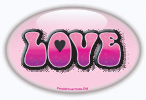 Love Button/Magnet - Pink Oval