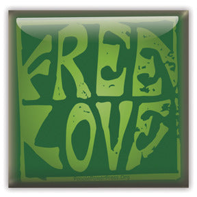 Free Love Button/Magnet - Green Square