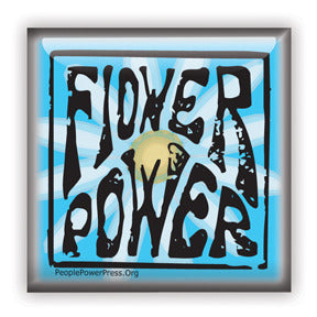 Flower Power Button/Magnet - Blue