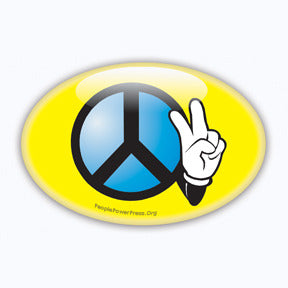 Peace Sign & V Sign Button/Magnet - Yellow Oval