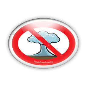 No Bombs - Mushroom Cloud Design - Peace Button/Magnet - Oval