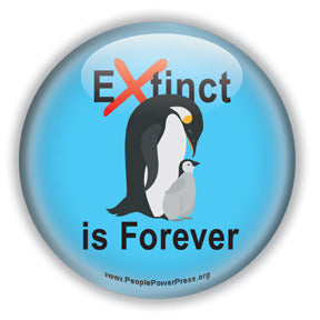 Extinct is Forever - Penguin Conservation Button/Magnet