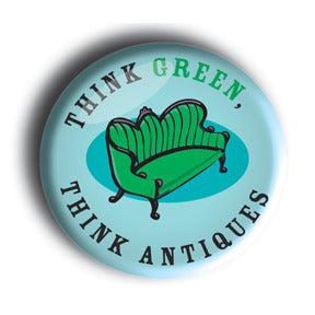 Think Green, Think Antiques - Blue Button