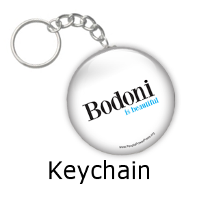 bodoni slogan, custom button design