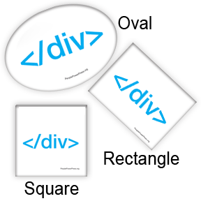 Div Close, Square, Rectangle, Oval Button Design