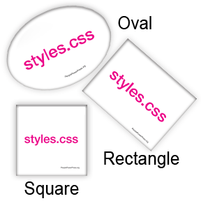 oval, rectangle, square button design