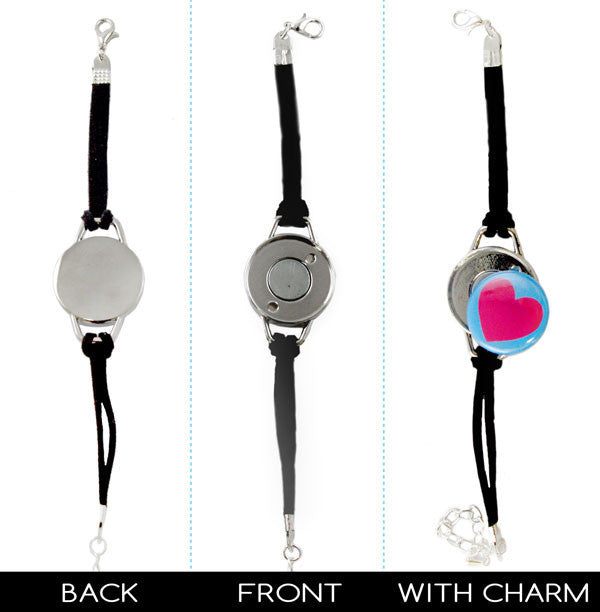 charm 1 inch diy button bracelets front and back