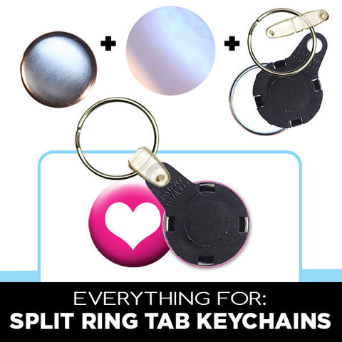 1 inch split ring keychains with plastic tab