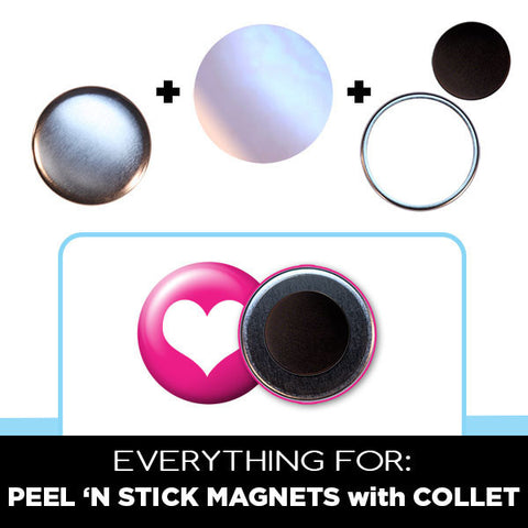 1.25 inch peel n stick magnets with collet parts