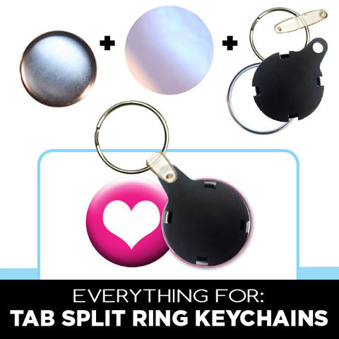 1-1/4 inch split ring keychains with plastic tab