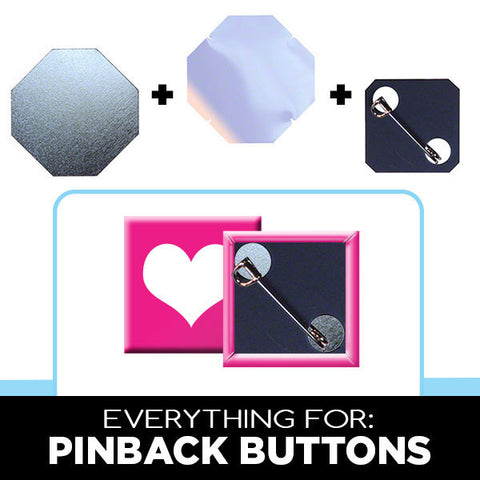 1 x 1 inch square pinback button parts