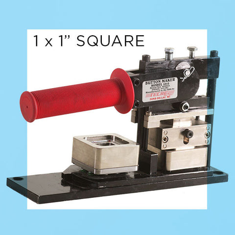 "Image of a hand press for 1""x1"" square button making"
