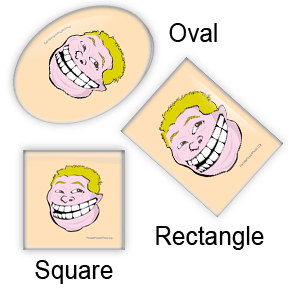 Rob Ford custom designs for square, oval, rectangular button designs