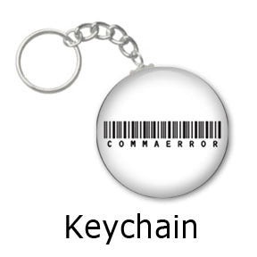 Comma Error Barcode key chains on People Power Press