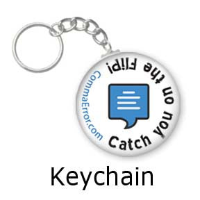 Catch you on the flip. Comma Error keychains on People Power Press