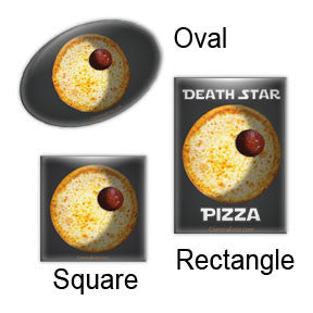Death Star Pizza magnets by Comma Error Radio on People Power Press