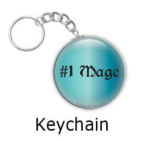 #1 Mage - Teal keychain. Part of the Comma Error Geek Boutique collection on People Power Press