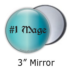 #1 Mage Teal pocket mirror. Part of the Comma Error Geek Boutique collection on People Power Press