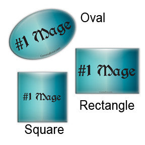 #1 Mage Teal button. Oval, Square and Rectangle. Part of the Comma Error Geek Boutique collection on People Power Press