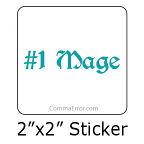 #1 Mage Teal sticker. Part of the Comma Error Geek Boutique collection on People Power Press