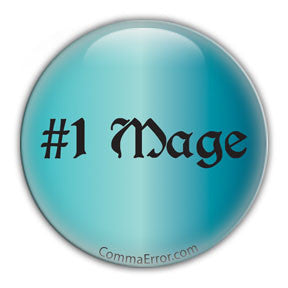 #1 Mage Round Button - Teal. Comma Error Radio Collection on People Power Press
