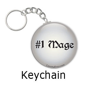 #1 Mage - Silver Key Chain. Part of the Comma Error Geek Boutique collection on People Power Press.