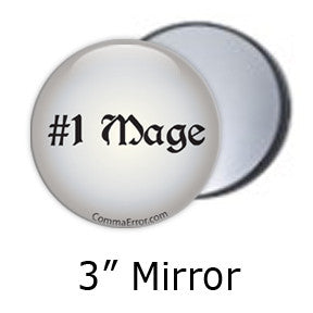 #1 Mage - Silver Pocket Mirrors. Part of the Comma Error Geek Boutique collection on People Power Press.