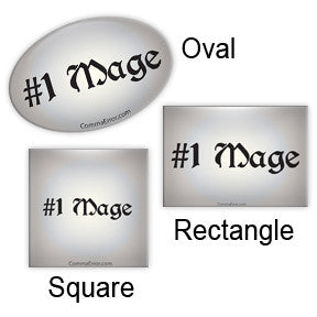 #1 Mage - Silver Fridge Magnets. Part of the Comma Error Geek Boutique collection on People Power Press.