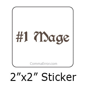 #1 Mage - Silver Sticker. Part of the Comma Error Geek Boutique collection on People Power Press.