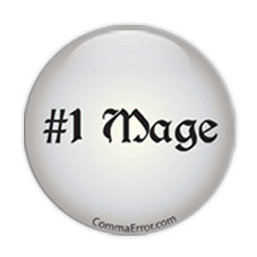 #1 Mage - Silver Button. Part of the Comma Error Geek Boutique collection on People Power Press.