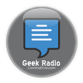 Comma Error is Geek Radio. Grey Logo Buttons on People Power Press